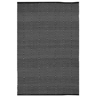 Indo Hand-woven Zen Black and White Flatweave Polypropylene Area Rug 2'6 x 8' (India)