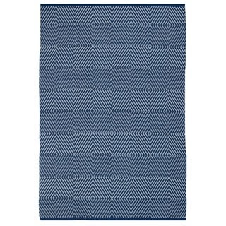 Indo Hand-woven Zen Blue and White Geometric Flatweave Area Rug