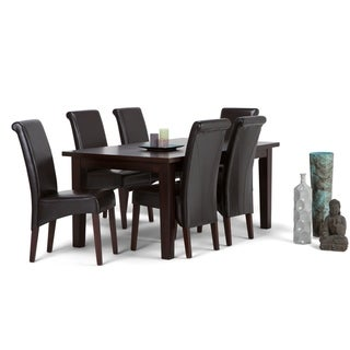 WYNDENHALL Franklin Contemporary 7 Pc Dining Set with 6 Upholstered Dining Chairs and 66 inch Wide Table