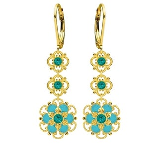 Lucia Costin Sterling Silver Green/ Turquoise Crystal Earrings
