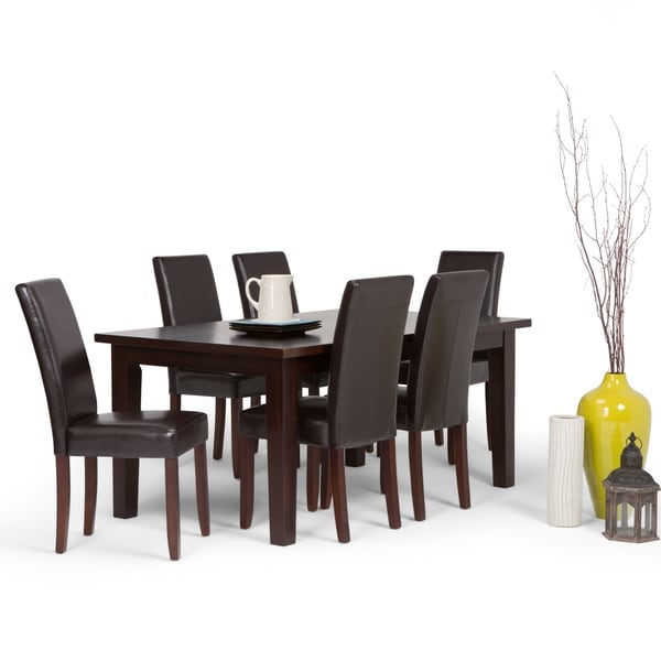 WYNDENHALL Normandy Contemporary 7 Pc Dining Set with 6 Upholstered Parson Chairs and 66 inch Wide Table