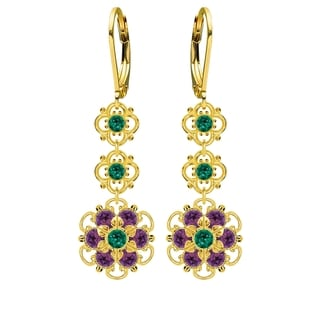 Lucia Costin Sterling Silver Green/ Violet Crystal Earrings