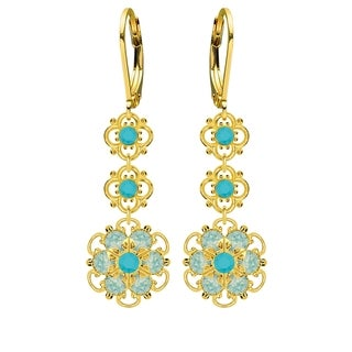 Lucia Costin Sterling Silver Turquoise/ Mint Blue Crystal Earrings