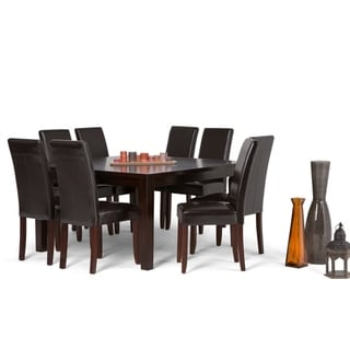WYNDENHALL Normandy Contemporary 9 Pc Dining Set with 8 Upholstered Parson Chairs and 54 inch Wide Table