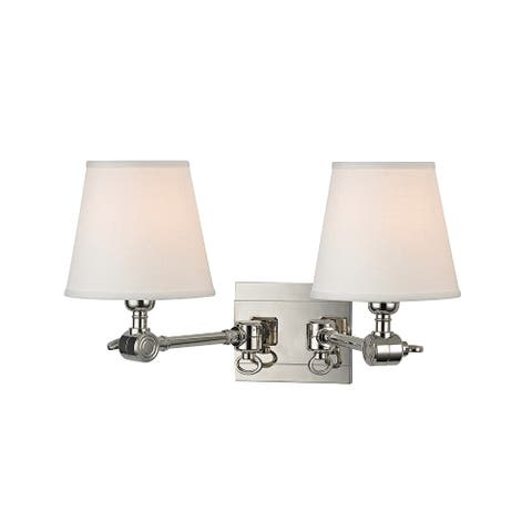 Hudson Valley Hillsdale 2-light Polished Nickel Wall Sconce
