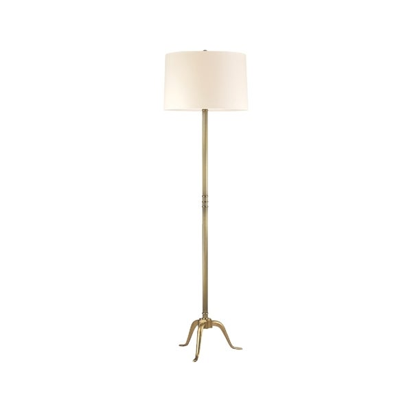 Hudson Valley Burton 1-light Brass Floor Lamp, Cream Shade