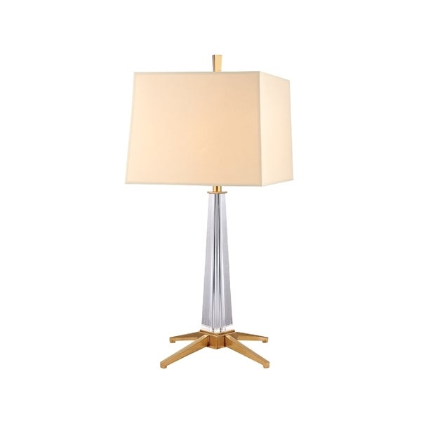 Hudson Valley Hindeman 1-light Brass Table Lamp, Cream Shade