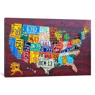 iCanvas License Plate Map USA by David Bowman Canvas Print