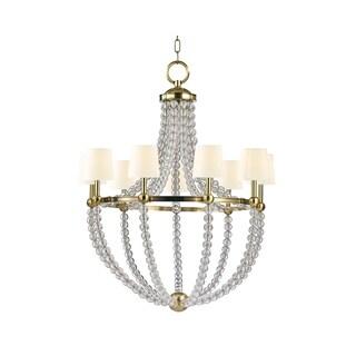 Hudson Valley Danville White Shade 9-light Brass Chandelier