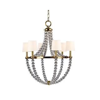 Hudson Valley Danville White Shade 6-light Brass Chandelier