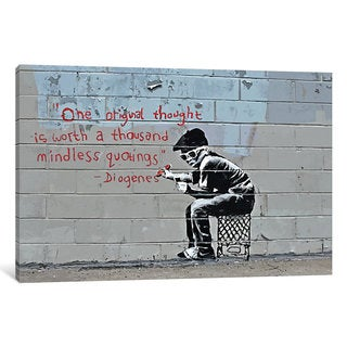iCanvas One Original Thought Worth a Thousand Quotings by Banksy Canvas Print
