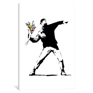iCanvas Rage, Flower Thrower by Banksy Canvas Print
