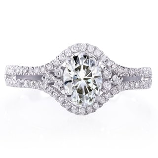 Annello by Kobelli 14k White Gold Oval 7/8ct Forever Classic Moissanite and 1/4ct TDW Diamond Engage