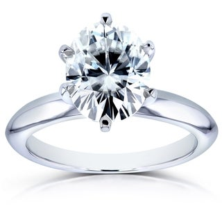 Annello by Kobelli 14k White Gold 2 1/10ct Oval Moissanite (HI) Solitaire 6-Prong Engagement Ring