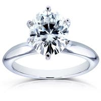 Annello by Kobelli 14k White Gold 2 1/10ct Oval Moissanite Solitaire 6-Prong Engagement Ring
