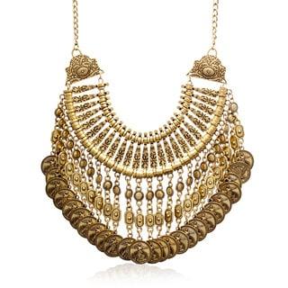 Adoriana Antique Gold Coin Bib Necklace