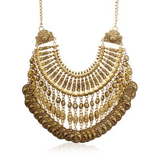 Adoriana Antique Gold Over Brass Coin Bib Necklace - Orange
