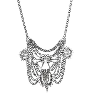 Passiana Clear Crystal Chain Bib Necklace