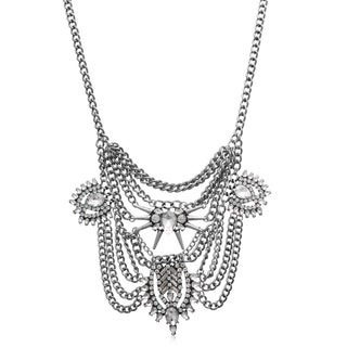 Adoriana Clear Crystal Chain Bib Necklace