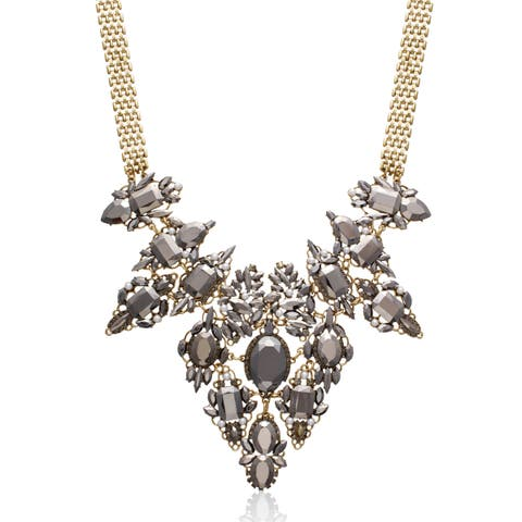 Adoriana Pearl and Gunmetal Crystal Regal Bib Necklace