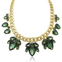 Adoriana Green Crystal Flower Petal Bib Necklace, Gold Over Brass, 17 Inches