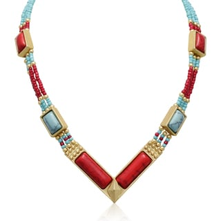 Adoriana Turquoise and Earth Ruby Tribal Necklace