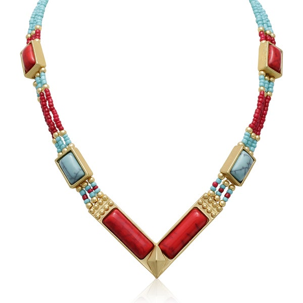 Passiana Turquoise and Red Earth Tribal Necklace
