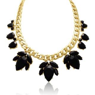 Adoriana Crystal Black Onyx Flower Petal Bib Necklace, Gold Overlay, 17 Inches