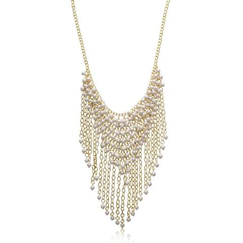 Passiana Pearl Fringe Bib Necklace - Orange