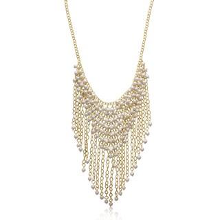 Passiana Pearl Fringe Bib Necklace