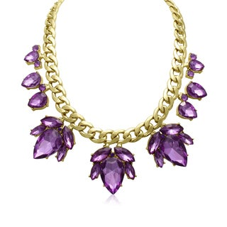 Adoriana Crystal Purple Amethyst Flower Petal Bib Necklace, Gold Overlay, 17 Inches