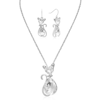 Adoriana Sassy Crystal Cat Necklace With Free Matching Earrings