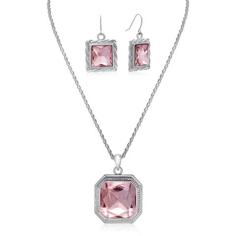 Adoriana Elegant Pink Crystal Necklace With Free Matching Earrings