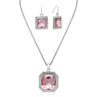 Adoriana Elegant 20 Carat Crystal Pink Topaz Necklace With Free Matching Earrings