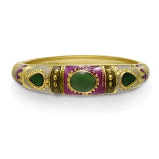 Adoriana Chinese Inspired Enamel Bracelet In Gold Overlay, 7 Inches