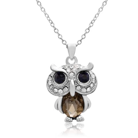 Adoriana Blue and White Crystal Owl Necklace, 16 Inches