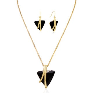 Adoriana 15 Carat Trillion Shape Black Onyx Crystal Necklace With Free Matching Earrings