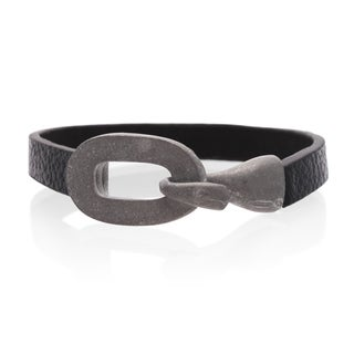 Adoriana Black Vegan Leather Cuff Bracelet