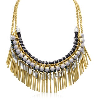 Passiana White and Turquoise Gold Over Brass Fringe Necklace