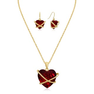 Adoriana Red Crystal Heart Necklace With Matching Earrings