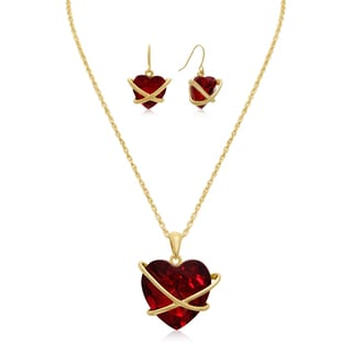 Adoriana 20k Gold-plated Crystal Ruby Heart Necklace With Matching Earrings