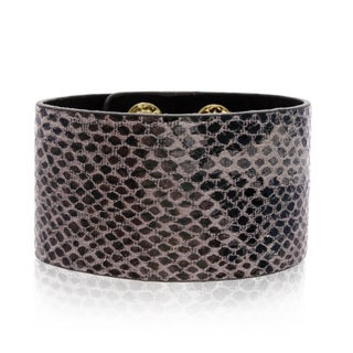 Adoriana Slate Gray Vegan Snakeskin Leather Cuff Bracelet