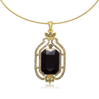 Adoriana Black Onyx and Gunmetal Crystal Radiant Choker Necklace, Gold Overlay