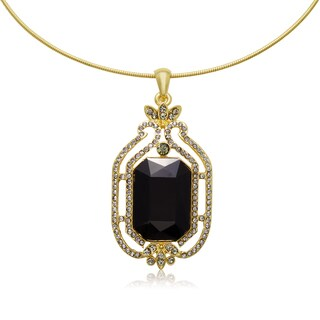 Adoriana Black and Gunmetal Crystal Radiant Choker Necklace, Gold Over Brass
