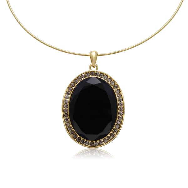 Adoriana Black and Gunmetal Crystal Oval Shape Choker Necklace, Gold Over Brass