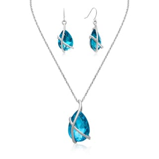 Adoriana 20 Carat Crystal Blue Topaz Pear Shape Necklace With Free Matching Earrings