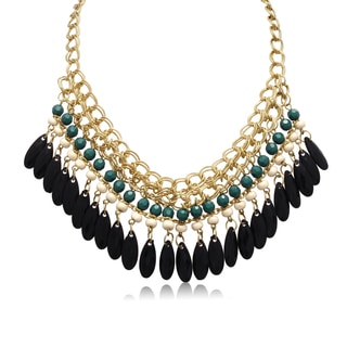 Adoriana Emerald and Black Onyx Crystal Bib Necklace In Gold Overlay, 16 Inches