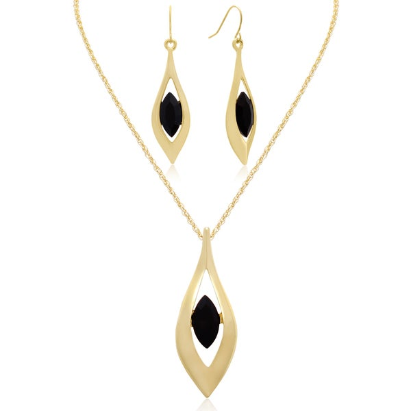 c6e3306f5 Adoriana Black Crystal Marquise Drop Necklace With Free Matching Earrings