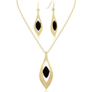 Adoriana Black Crystal Marquise Drop Necklace With Free Matching Earrings