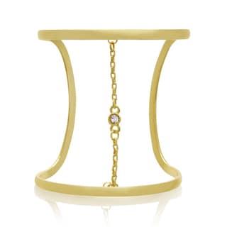 Adoriana Crystal and Chain Wide Cuff Bangle, Gold Overlay